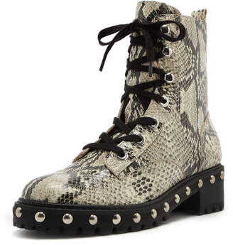 Schutz Andrea Studded Snake-Print Leather Combat Boots
