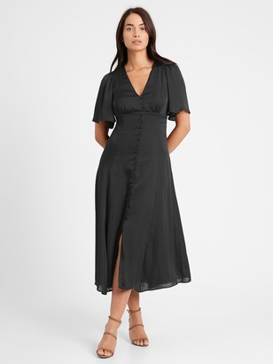 Banana Republic Petite Satin Flutter-Sleeve Midi Dress