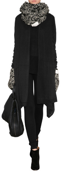 DKNY Silk-Cashmere Draped Cardigan in Black