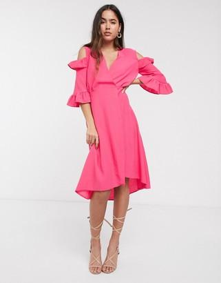 Closet London Closet a-line wrap dress with ruffle sleeves