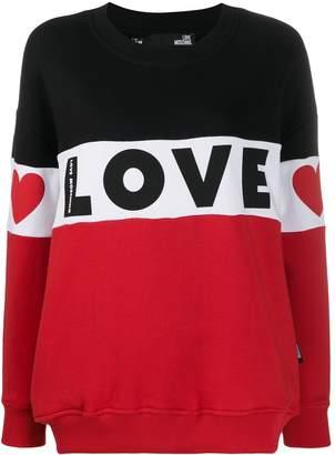 Love Moschino logo print colour-block sweatshirt