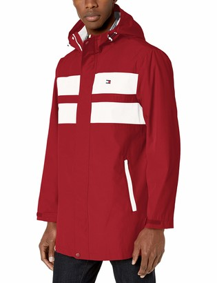 Tommy Hilfiger Men's Performance Poly Midlength Hooded Rain Jacket