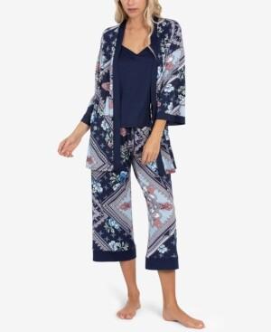 Linea Donatella Robe, Cami & Capri 3pc Pajama Set