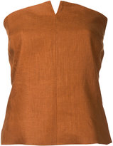 H Beauty&Youth slit detail strapless blouse - women - Linen/Flax - M