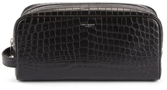 Saint Laurent Croc-Embossed Leather Cosmetic Case