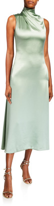 Brandon Maxwell Fluid Silk Wrapped High-Neck Dress