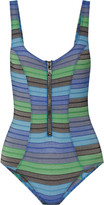 Lisa Marie Fernandez Jasmine striped stretch cotton-blend swimsuit