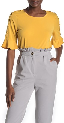 Adrianna Papell Button Sleeve Bell Cuff Top