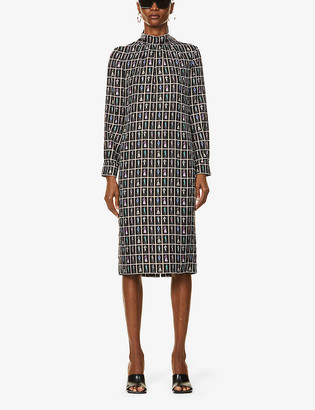Max Mara Graphic-print silk-twill midi dress