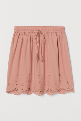 H&M Broderie-detail cotton skirt