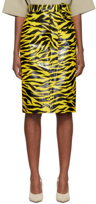 Kwaidan Editions Yellow and Black Tiger Print Pencil Skirt