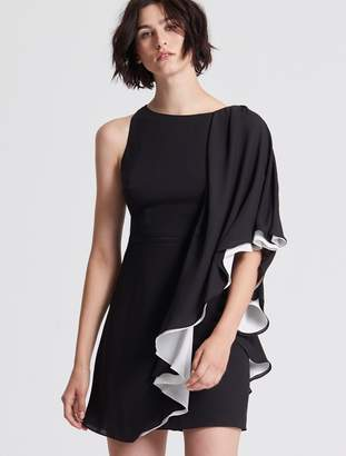 Halston Asymmetric Color Blocked Flowy Dress