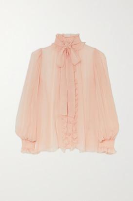 Dolce & Gabbana Pussy-bow Ruffled Silk-chiffon Blouse - Blush