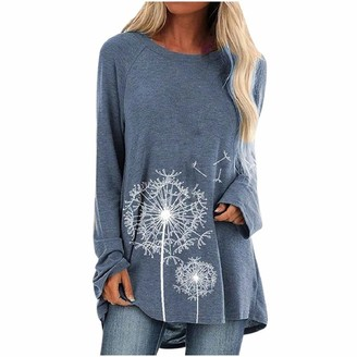 YEBIRAL Tops for Women Pullover Blouse Long Sleeves Floral Casual Shirts Solid O-Neck Loose Tunic Blue