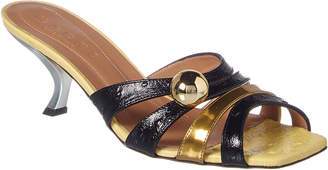 Marni Croc-Embossed Leather Sandal