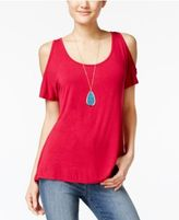 Belle Du Jour Juniors' Cold-Shoulder Top with Necklace
