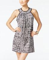 Trixxi Juniors' Printed Crochet-Trim Halter Dress