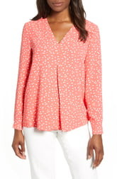 Anne Klein Dot Print Long Sleeve Blouse