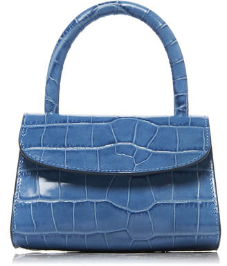 BY FAR Mini Croc-Effect Leather Top Handle Bag