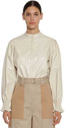 MSGM Buttoned Faux Leather Shirt