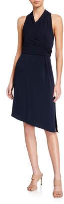 Halston Faux-Wrap Asymmetric Dress