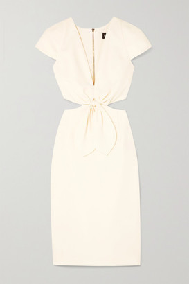 HANEY Phoebe Knotted Cutout Crepe Dress - Ivory