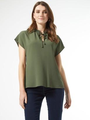 Dorothy Perkins Short Sleeve Pie Crust T-shirt - Khaki