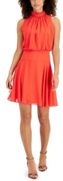 Taylor Petite Mock Neck Blouson Dress