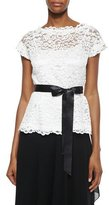 Rickie Freeman For Teri Jon Short-Sleeve Belted Lace Top