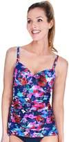 Women's Mazu Swim Bust Enhancer Floral Ruched Tankini Top
