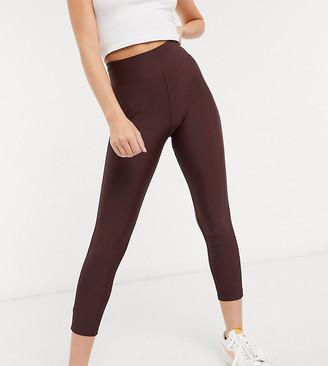 ASOS DESIGN Petite deep waistband legging in matte disco in chocolate