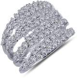 Lafonn Platinum Plated Sterling Silver Simulated Diamond Micro Pave Multi-Row Wide Band