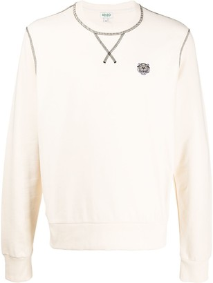 Kenzo Logo-Embroidered Contrast-Stitch Sweatshirt