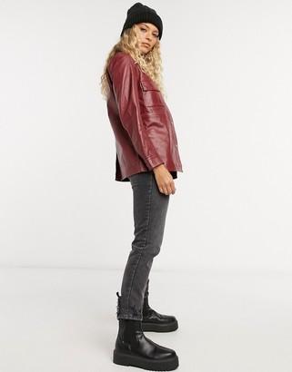 Muu Baa Muubaa pocket front leather shacket in off burgundy