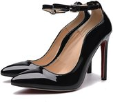 Superpark High Heels Pumps Red Sole Shoes Ankle-strap Pointed Toe Shoes