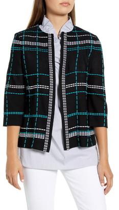Ming Wang Pickstitch Plaid Boxy Jacket