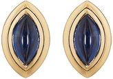 Mahnaz Collection Vintage Women's Blue Sapphire & Yellow Gold Clip-On Earrings