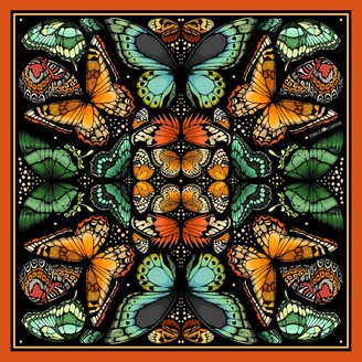 Emily Carter The Tropical Butterfly Silk Scarf Burnt Orange Large