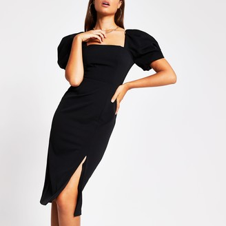 River Island Womens Black short puff sleeve fitted midi dress