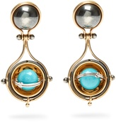 ELIE TOP Diamond, turquoise, silver & gold Pluton earrings