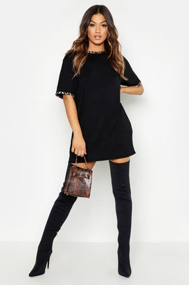 boohoo Leopard Print Contrast Trim T-Shirt Dress