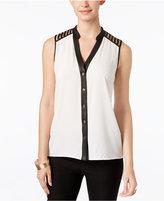Thalia Sodi Lattice-Cutout Button-Front Blouse, Only at Macy's