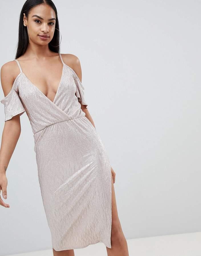 Rare London Metallic Cold Shoulder Midi Dress