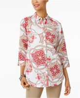 JM Collection Printed Roll-Tab Shirt, Created for Macy's