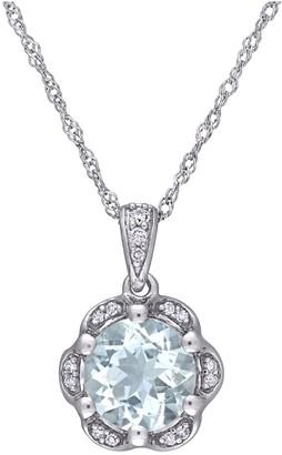 14K 1.15 cttw Aquamarine & Diamond Accent Flower Pendant