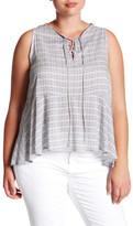 Susina Lace-Up Printed Sleeveless Blouse (Plus Size)