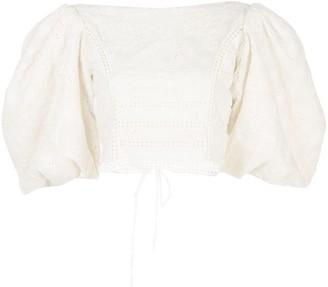 Johanna Ortiz Hazel Embroidered Cotton Lace Top