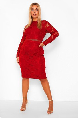 boohoo Plus Lace Midi Dress