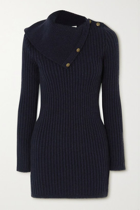 Saint Laurent Button-embellished Ribbed Camel Wool Mini Dress - Navy