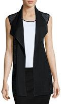 Ming Wang Mesh-Panel Knit Vest, Black